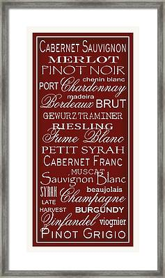 Wine List Red Framed Print by Rebecca Gouin