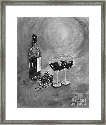 Wine On My Canvas - Black And White - Wine For Two Framed Print by Jan Dappen