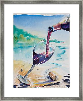 Wine On The Beach Framed Print by Adam VanHouten
