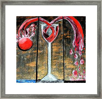 Framed Print featuring the painting Wine Out Pour by Janelle Dey