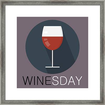 Wine Poster Print - It's Winesday Framed Print