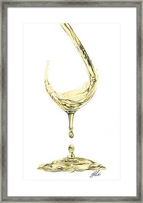 White Wine Pouring Framed Print by Julie Senf