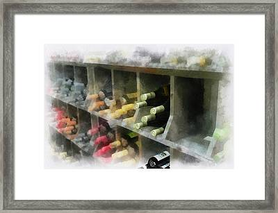 Wine Rack Mixed Media 01 Framed Print