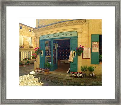 Wine Shop In French Village Framed Print by Richard Jenkins