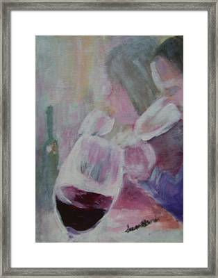 Wine Sipping Framed Print by Susan Harris