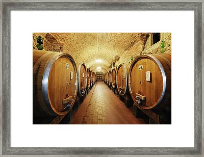 Wine Storage In Oak Barrels Framed Print by Jeremy Woodhouse