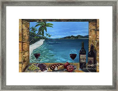 Framed Print featuring the painting Wine Thirty - Oceanside by Jan Dappen