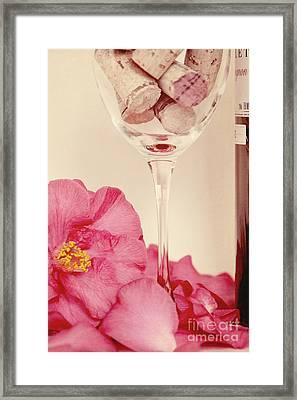 Wine With Camellia Framed Print by Kim Fearheiley