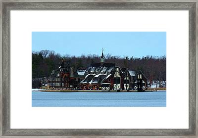 Snow On Boldt Castle Yacht House Framed Print