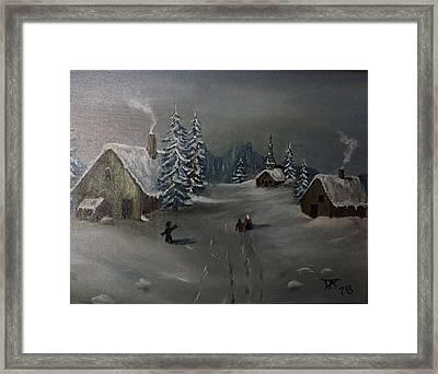 Winter In A German Village Framed Print