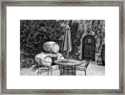 Winery Anyela's Vineyard Skaneateles New York Seating For Four Bw Framed Print