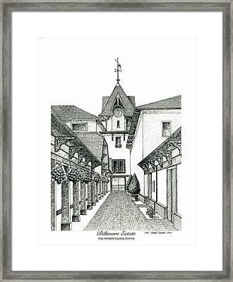 Winery Clock Tower On Biltmore Estate Framed Print by Lee Pantas