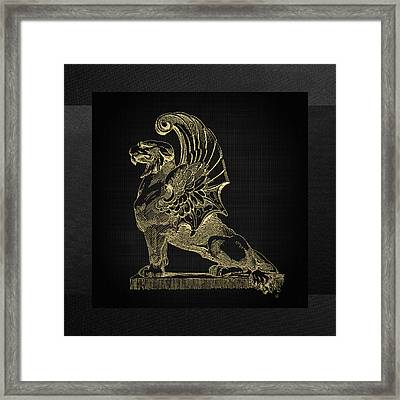 Framed Print featuring the digital art Winged Chimera From Theater De Bellecour, Lyon, France, In Gold On Black by Serge Averbukh