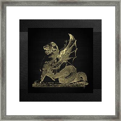 Winged Dragon Chimera From Fontaine Saint-michel, Paris In Gold On Black Framed Print