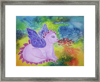 Framed Print featuring the painting Winged Dragon by Ellen Levinson