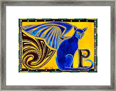 Winged Feline - Cat Art With Letter P By Dora Hathazi Mendes Framed Print