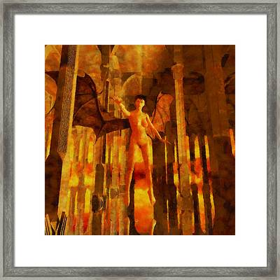 Winged Goddess In The Temple Framed Print