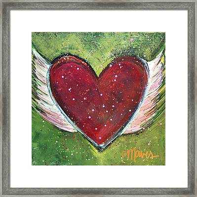 Framed Print featuring the painting Winged Heart Number 1 by Laurie Maves ART