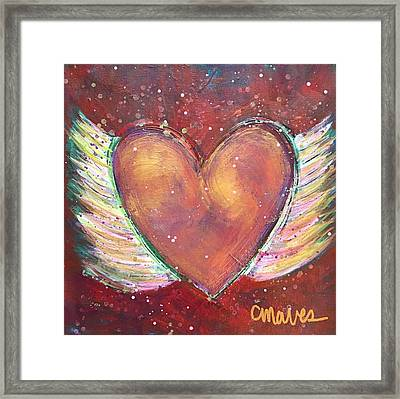 Framed Print featuring the painting Winged Heart Number 2 by Laurie Maves ART