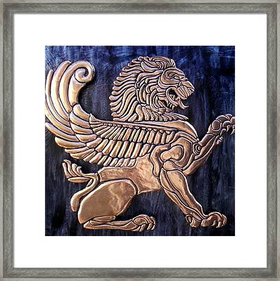Winged Lion Framed Print by Cacaio Tavares