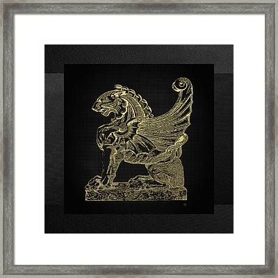 Framed Print featuring the digital art Winged Lion Chimera From Casa San Isidora, Santiago, Chile, In Gold On Black by Serge Averbukh