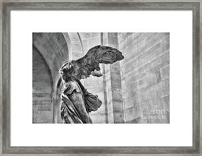 Winged Samothrace Bw Framed Print