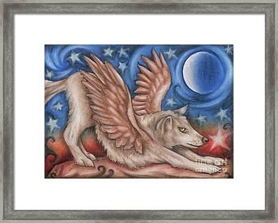 Winged Wolf In Downward Dog Yoga Pose Framed Print