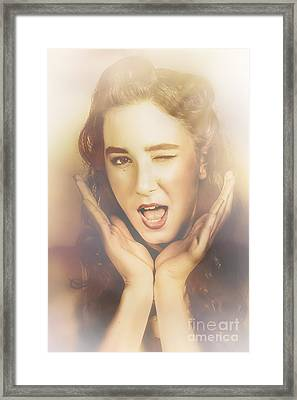 Winking Pinup Woman With Retro Hair And Makeup Framed Print