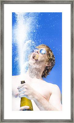 Winner Breaking Open The Bubbly Framed Print by Jorgo Photography - Wall Art Gallery