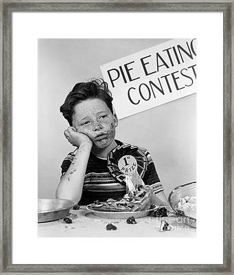 Winner Of Pie-eating Contest, C.1950s Framed Print