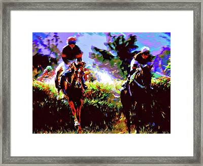 Winners Of The Horse Race Expressionism Framed Print by Georgiana Romanovna