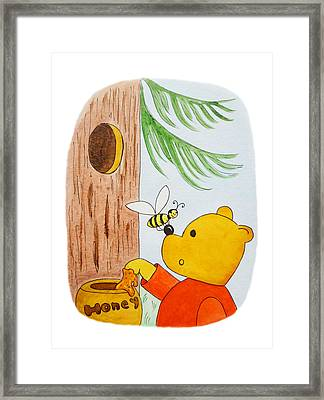 Winnie The Pooh And His Lunch Framed Print by Irina Sztukowski