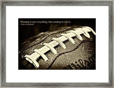 Winning Is Not Everything - Lombardi Framed Print by David Patterson