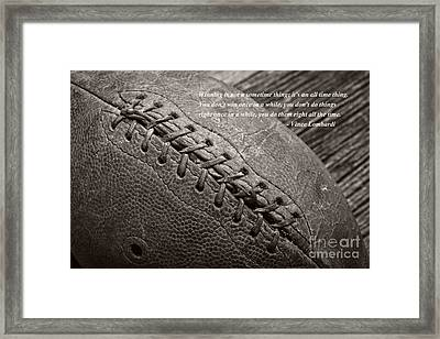 Winning Quote From Vince Lombardi Framed Print