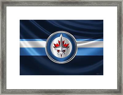 Winnipeg Jets - 3 D Badge Over Silk Flag Framed Print by Serge Averbukh