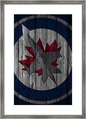 Winnipeg Jets Wood Fence Framed Print by Joe Hamilton