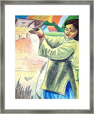 Winnowing With Smile Framed Print by Tanmay Singh