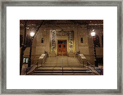 Winona Public Library On A Snowy Night Framed Print