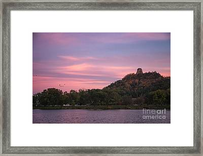 Winona Sugarloaf Pink Skies With Geese Framed Print