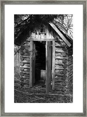 Framed Print featuring the photograph Winslow Log Outhouse by Curtis J Neeley Jr