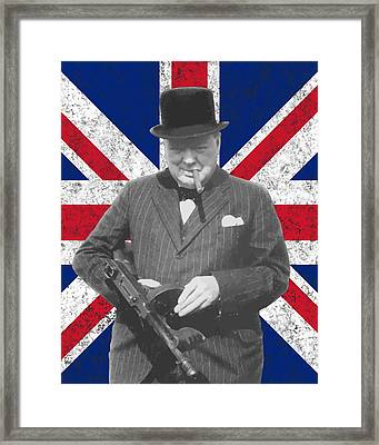 Winston Churchill And Flag Framed Print
