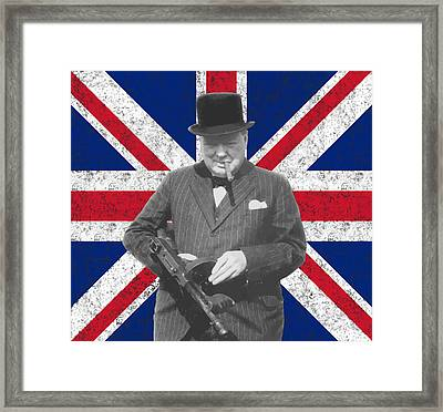 Winston Churchill And His Flag Framed Print