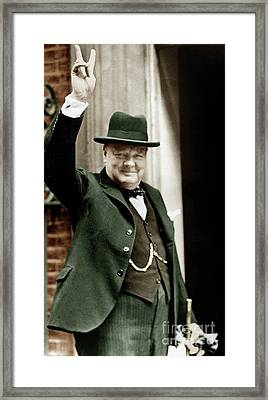 Winston Churchill, English Prime Minister, Making The Victory Gesture In Front Of 10 Downing Street  Framed Print