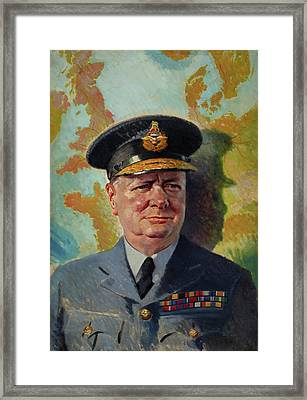 Winston Churchill In R A F Uniform Framed Print by Unknown