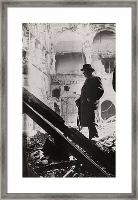 Winston Churchill Inspecting Bomb Framed Print by Everett