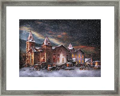 Winter - Clinton Nj - Silent Night  Framed Print by Mike Savad