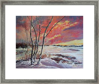 Winter Across The Lake  Framed Print