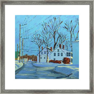Winter Afternoon Bridge Street Framed Print by Laurie Breton
