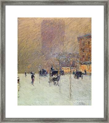 Winter Afternoon In New York Framed Print by Childe Hassam