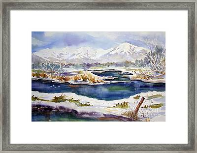 Framed Print featuring the painting Winter Airport Road by Pat Crowther